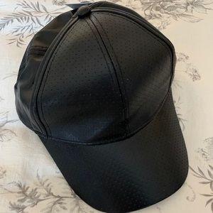 The Kit Black Faux Leather Baseball Cap 🧢